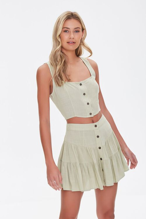 Tiered Button-Front Mini Skirt, image 1