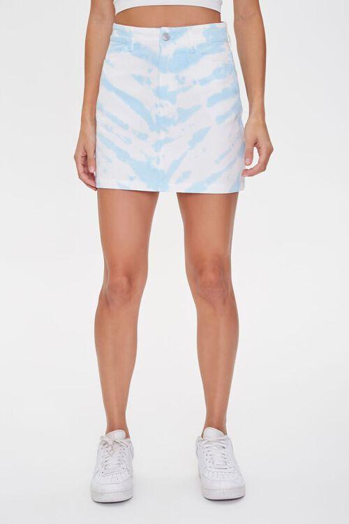 WHITE/BLUE Tie-Dye Mini Skirt, image 2