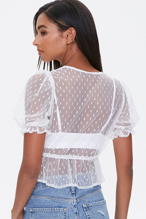 IVORY Sheer Dotted Mesh Crop Top, image 3