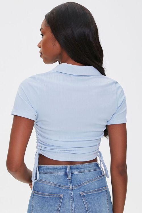 Ruched Drawstring Polo Shirt, image 3