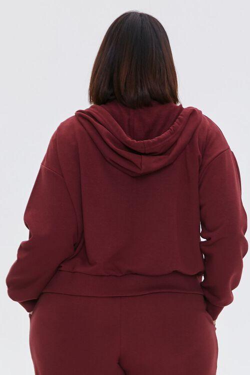 WINE Plus Size Fleece Zip-Up Hoodie, image 3