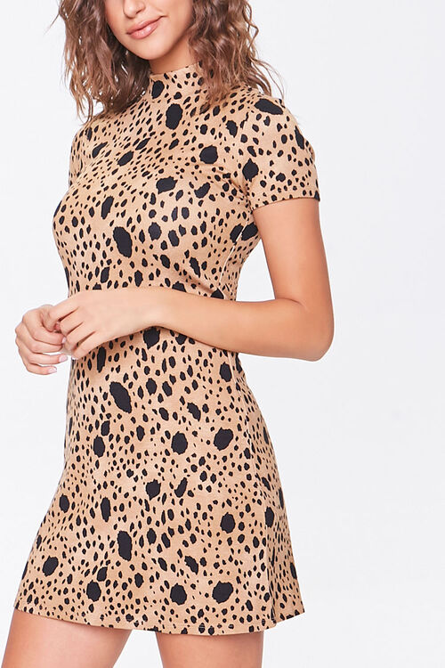 BROWN/BLACK Spotted Bodycon Dress, image 1