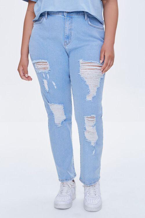 LIGHT DENIM Plus Size Distressed Boyfriend Jeans, image 2