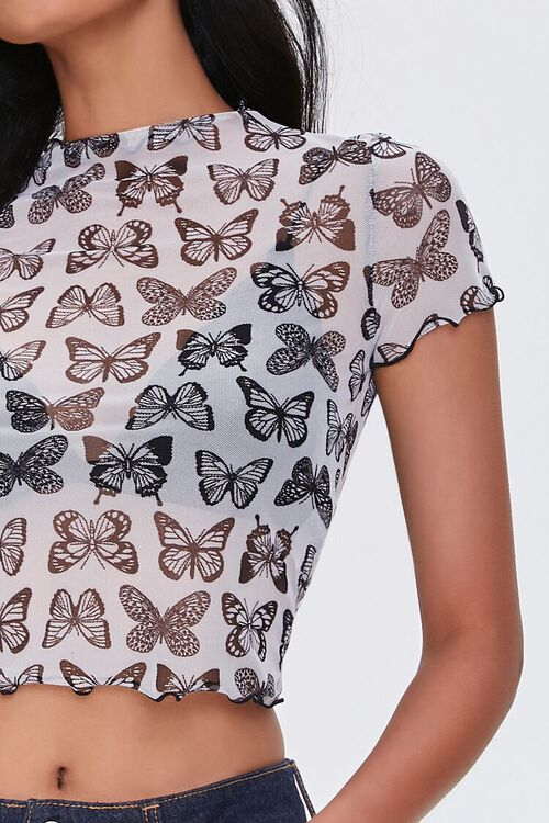 Butterfly Print Mesh Top, image 5