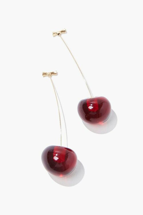 RED/GOLD Cherry Drop Earrings, image 1