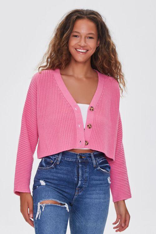 PINK Ribbed Cropped Cardigan Sweater, image 2