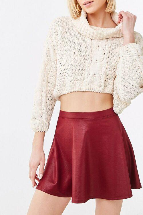BURGUNDY Sheeny Skater Skirt, image 1