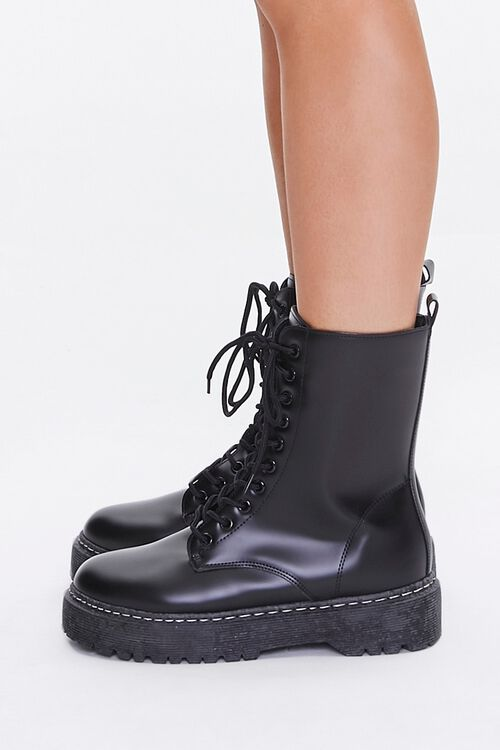 Faux Leather Combat Boots, image 2