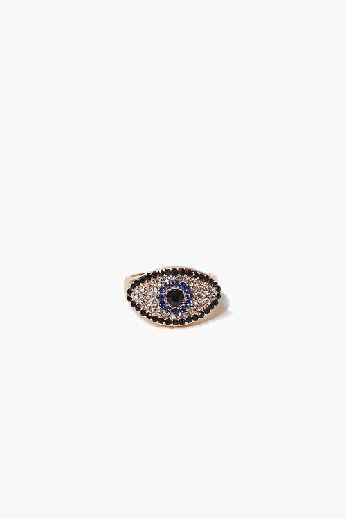 Rhinestone Evil Eye Charm Ring, image 2