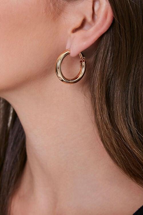 GOLD Tube Hoop Earrings, image 1