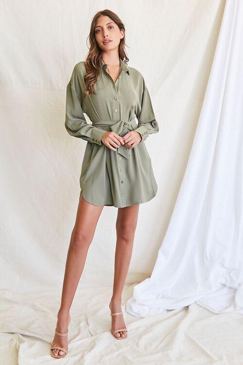 OLIVE Tie-Waist Shirt Dress, image 4