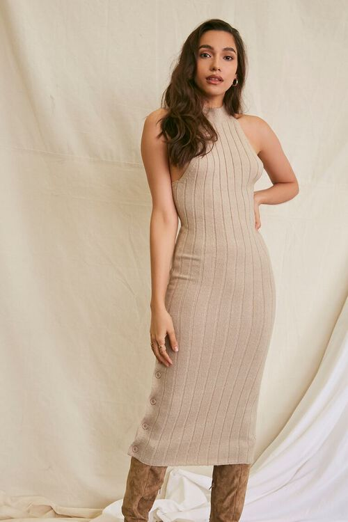 TAUPE Sweater-Knit Ribbed Halter Midi Dress, image 7