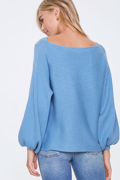 Ribbed Balloon-Sleeve Sweater, image 3