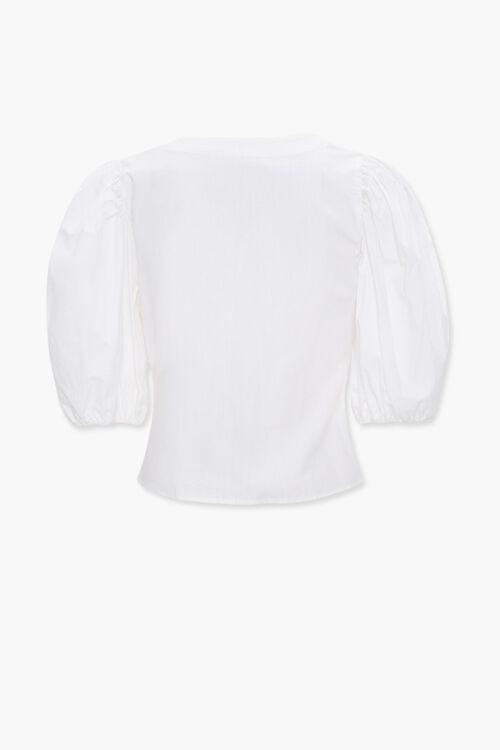 Puff-Sleeve Tie-Front Top, image 2