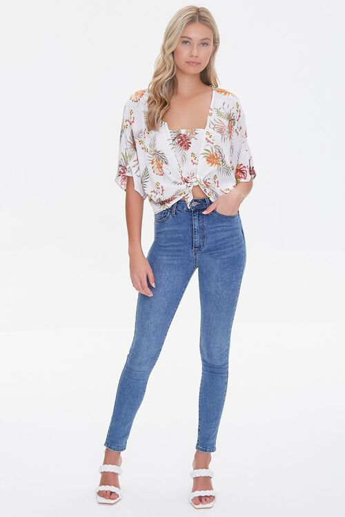 IVORY/MULTI Tropical Print Knotted Dolman Top, image 4