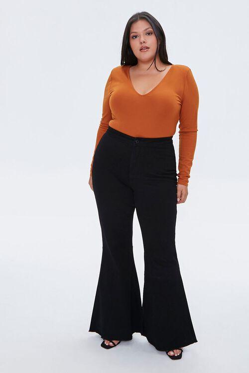 Plus Size V-Neck Long-Sleeve Bodysuit, image 5