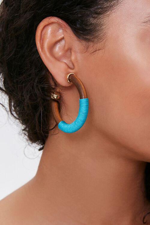 Threaded Wooden Hoop Earrings, image 1