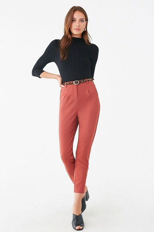 Belted Hook-and-Eye Ankle Pants, image 4