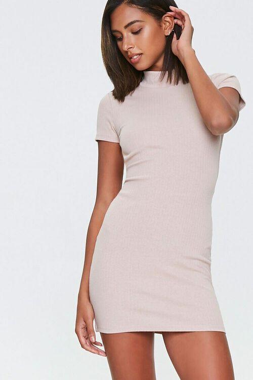 TAUPE Ribbed Open-Back Mini Dress, image 5