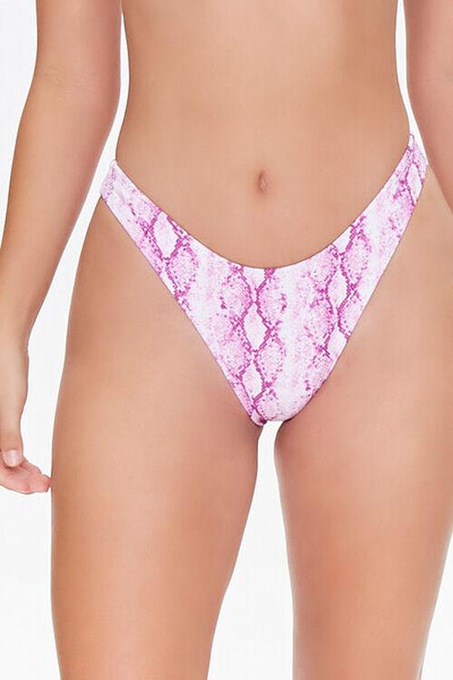 Snake Print High-Leg Bikini Bottoms, image 2