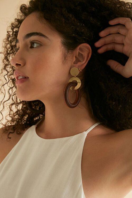 Wooden Hoop Drop Earrings, image 1