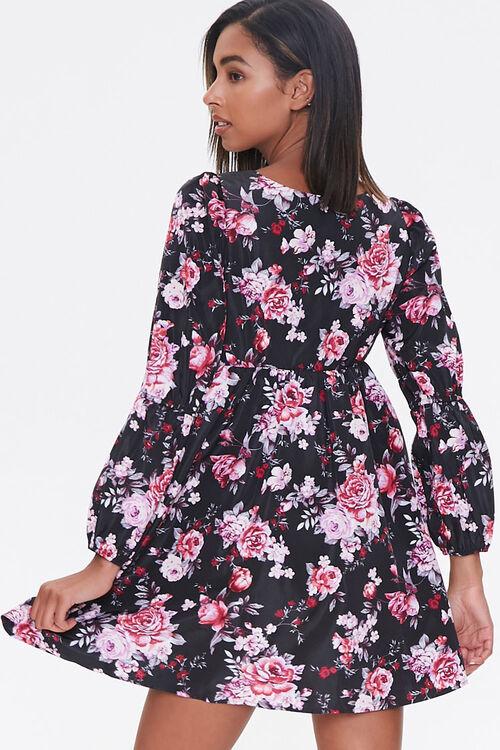 BLACK/PINK Floral Print Mini Dress, image 3
