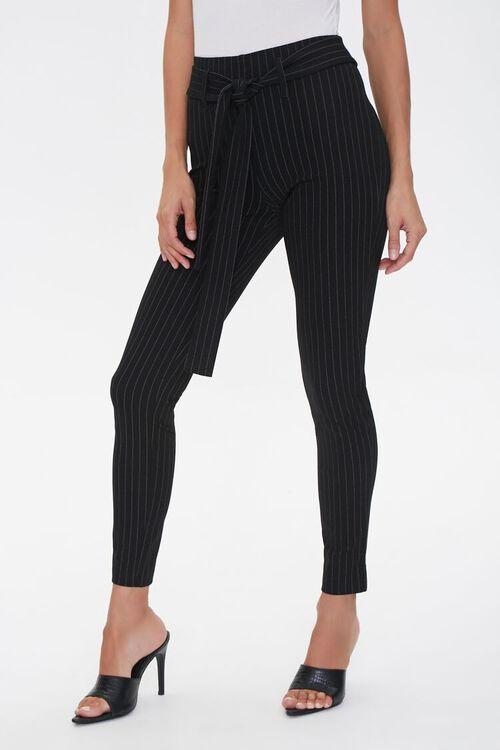 Belted Pinstripe Leggings, image 1