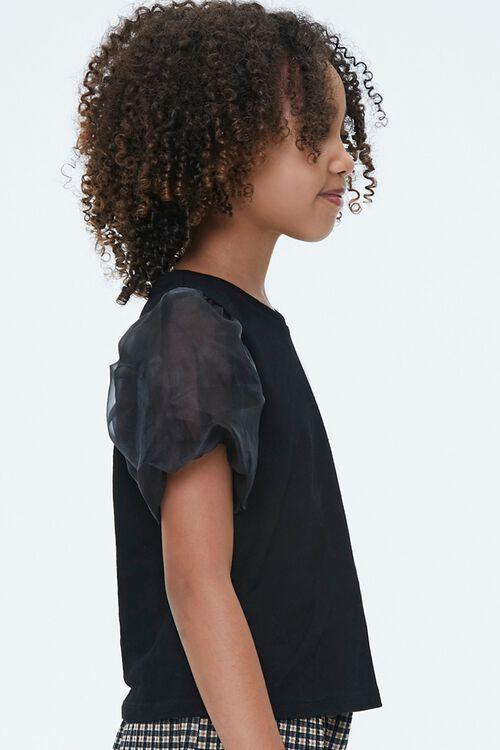 Girls Sheer Puff-Sleeve Top (Kids), image 2