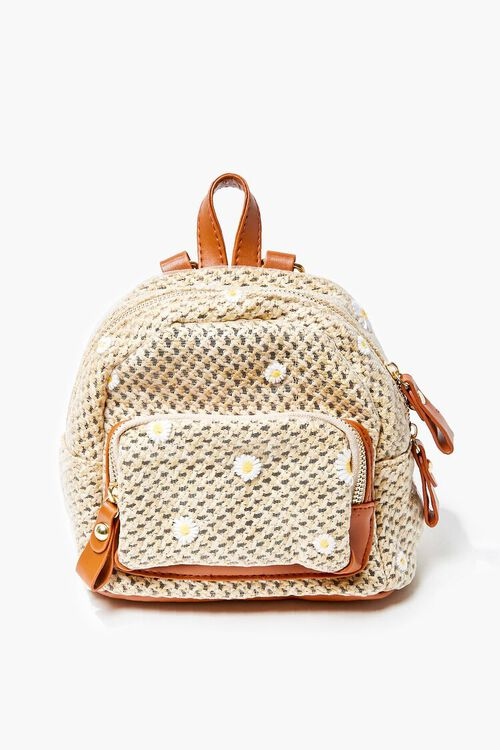Daisy Charm Basketwoven Backpack, image 1