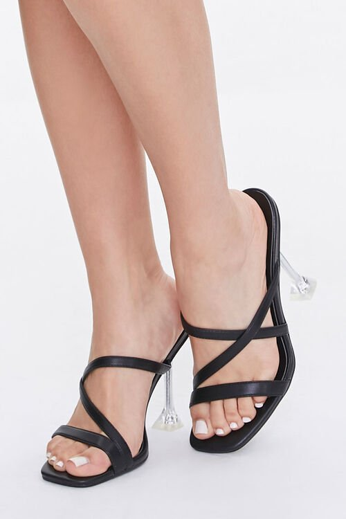 BLACK Strappy Faux Leather Heels, image 1