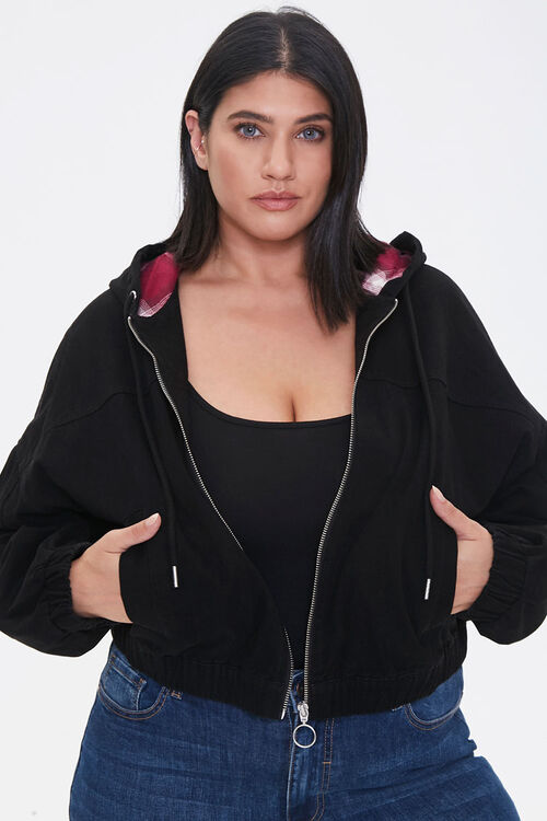 Plus Size Plaid-Lined Zip-Up Hoodie, image 1