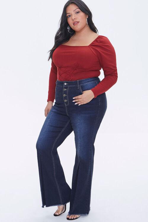Plus Size Frayed Flare Jeans, image 1