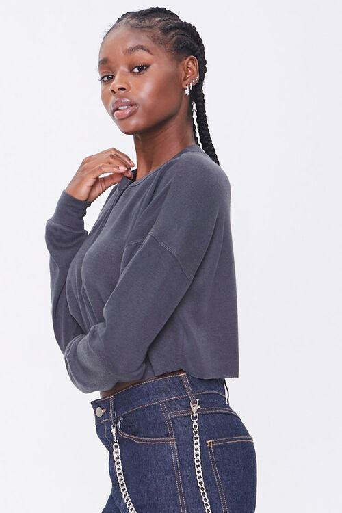 Slub Knit Henley Crop Top, image 2
