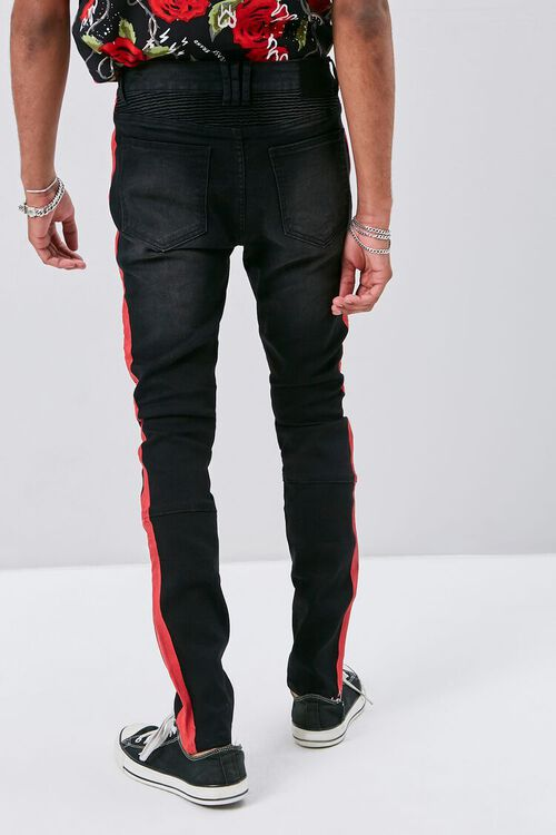 Side-Striped Distressed Moto Jeans, image 3