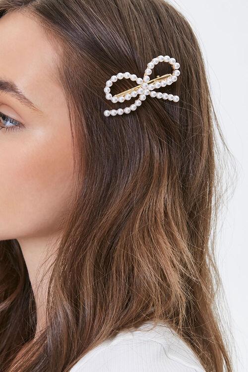 Faux Pearl Bow Hair Clip, image 1