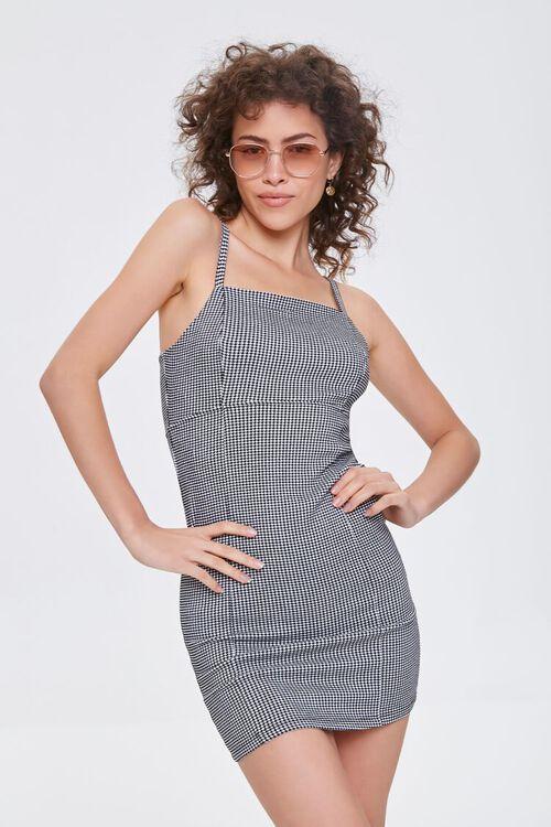 BLACK/CREAM Plaid Mini Dress, image 1