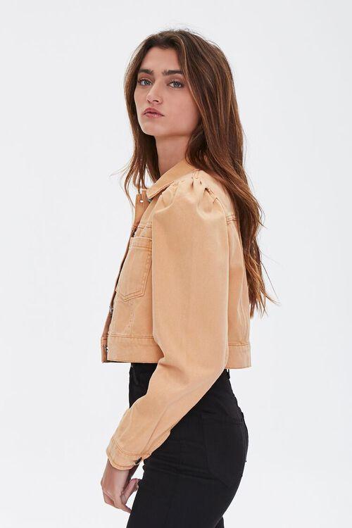 TAN Puff Sleeve Denim Jacket, image 2