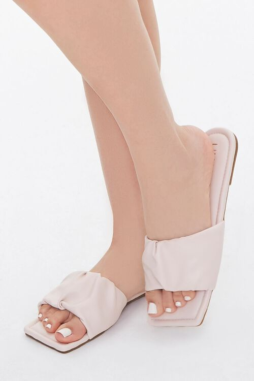 Faux Leather Ruched Sandals, image 1