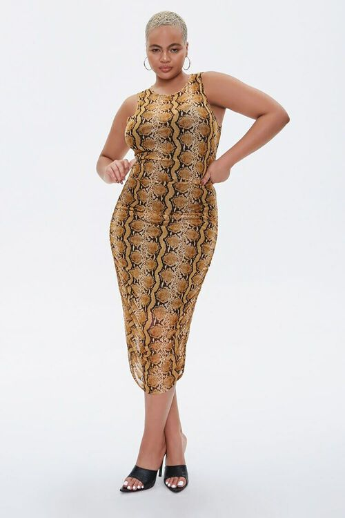 MUSTARD/MULTI Plus Size Snake Print Dress, image 4