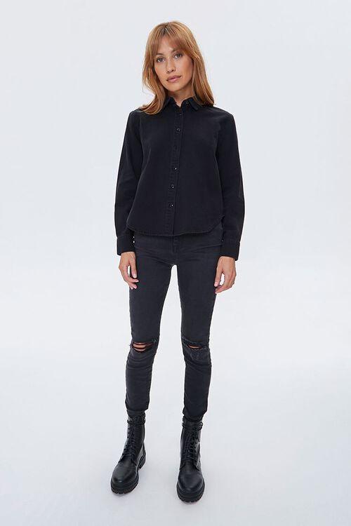 Denim Curved-Hem Shirt, image 4
