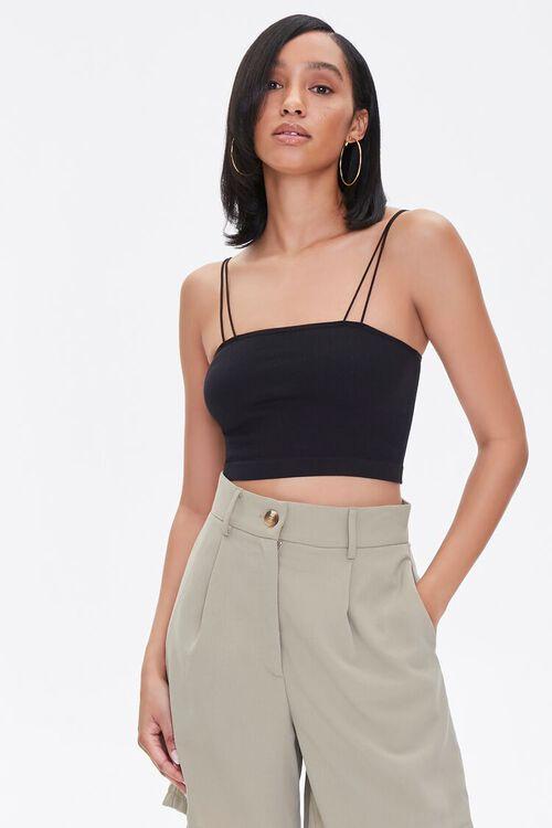 BLACK Dual-Strap Cropped Cami, image 1