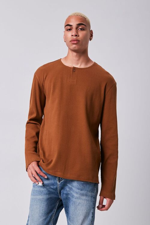 BROWN Henley Thermal Top, image 1