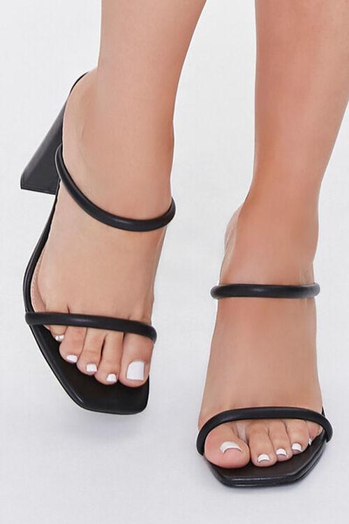 BLACK Faux Leather Block Heels, image 4