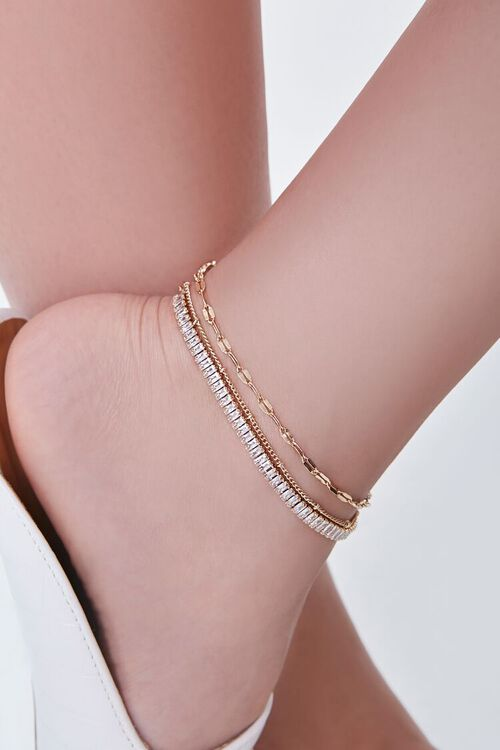 GOLD CZ Stone Chain Anklet Set, image 1