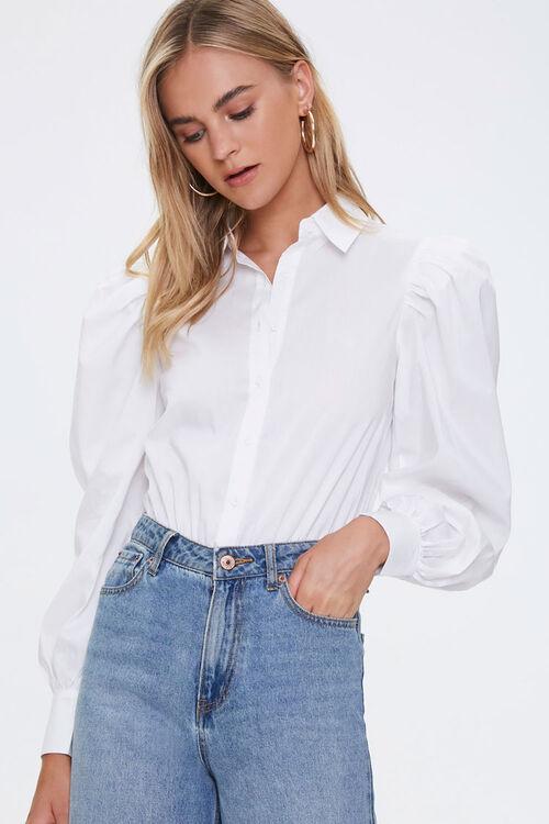 Balloon-Sleeve Shirt Bodysuit, image 1
