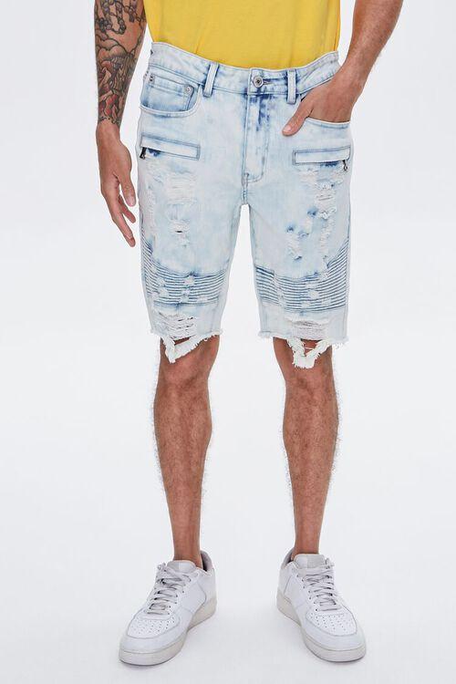 Distressed Denim Moto Shorts, image 2