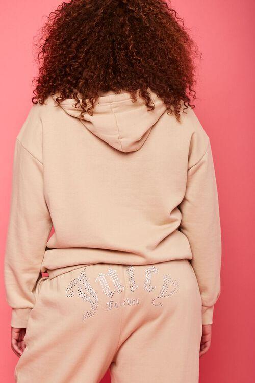 TAN/MULTI Plus Size Juicy Couture Fleece Hoodie, image 3
