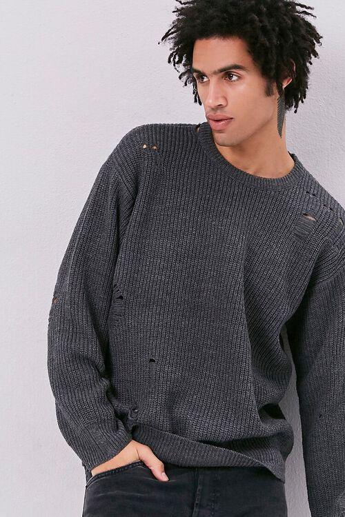Distress Ribbed Knit Sweater, image 1