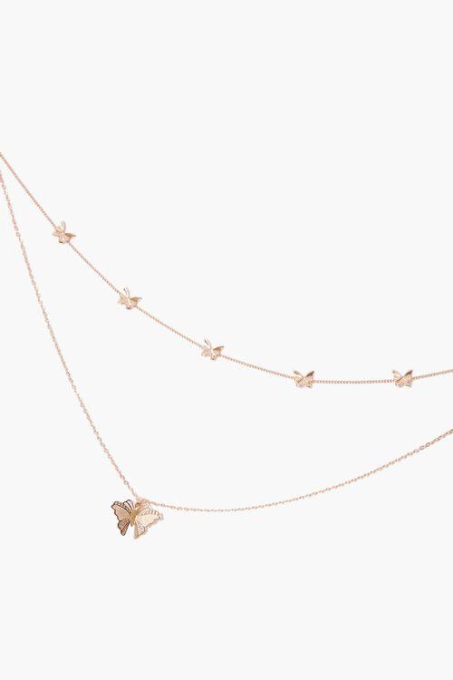 Layered Butterfly Pendant Choker Necklace, image 1