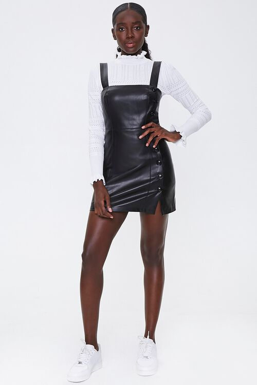 Faux Leather Pinafore Dress, image 4